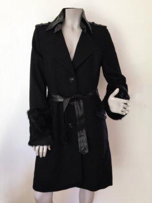 Drykorn Mantel NEEDHAM Wolle Ärmel Kunstfell Fake Fur schwarz Gr. 4 (= 40) WIE NEU