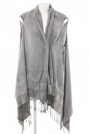 Drykorn Poncho hellgrau grafisches Muster Business-Look