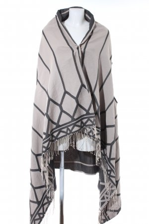 Drykorn Poncho licht beige-grijs abstract patroon casual uitstraling