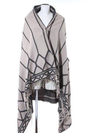 Drykorn Poncho beige chiaro-grigio motivo astratto stile casual