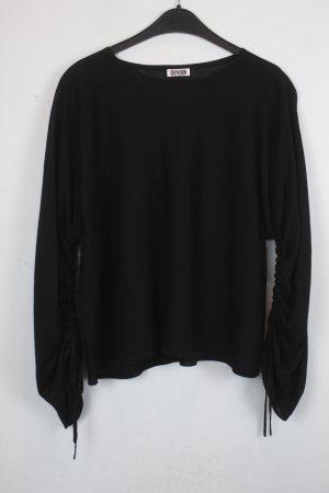 Drykorn Pullover Gr. S schwarz transparent mit innen gerafften Ärmeln (18/6/349)
