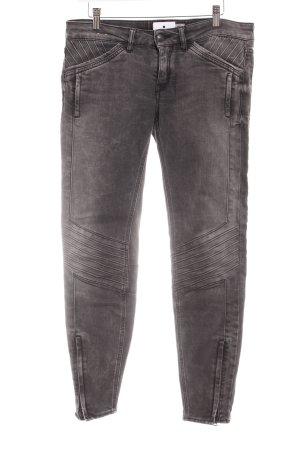 Drykorn Skinny Jeans dunkelgrau Biker-Look