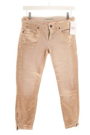 Drykorn Skinny Jeans roségoldfarben Metallic-Optik