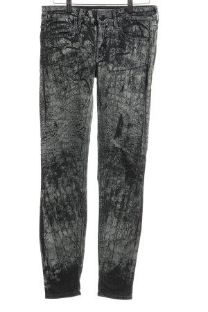 Drykorn Skinny Jeans schwarz-creme abstraktes Muster Casual-Look