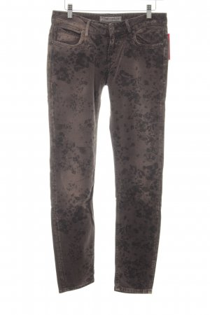 Drykorn Slim Jeans braun-schwarz Allover-Druck Casual-Look