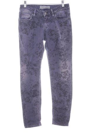 Drykorn Slim Jeans grauviolett-schwarz florales Muster Casual-Look