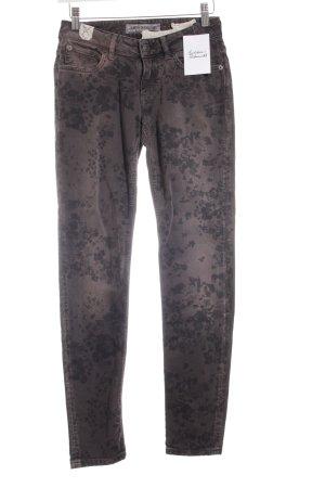 Drykorn Slim Jeans hellbraun-schwarzbraun florales Muster Casual-Look