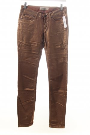 Drykorn Stretchhose bronzefarben Metallic-Optik