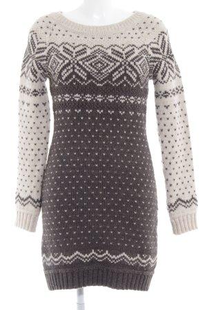 Drykorn Gebreide jurk licht beige-taupe Webpatroon Azteken print