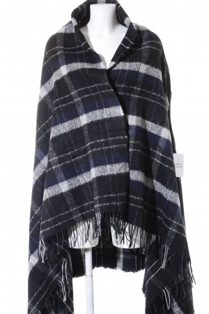 Drykorn Gebreide poncho wit-donkerblauw geruite print casual uitstraling