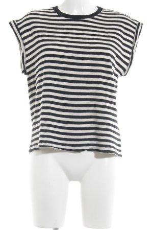 Drykorn Camisa tejida blanco-negro rayas horizontales look casual