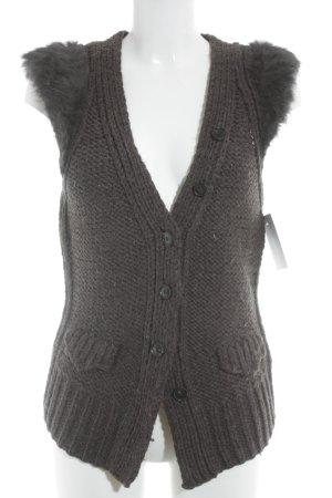 Drykorn Knitted Vest dark brown extravagant style
