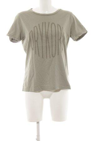 Drykorn T-Shirt graugrün-grüngrau Schriftzug gedruckt Casual-Look