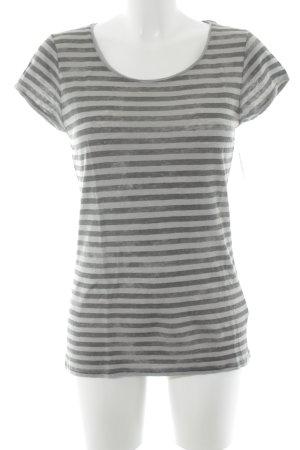 Drykorn T-Shirt hellgrau-olivgrün Streifenmuster Casual-Look