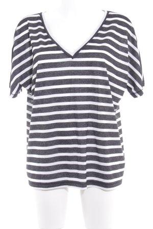 Drykorn T-Shirt schwarz-weiß Streifenmuster Glitzer-Optik