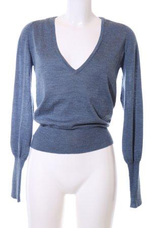 Drykorn V-Ausschnitt-Pullover blau meliert Casual-Look