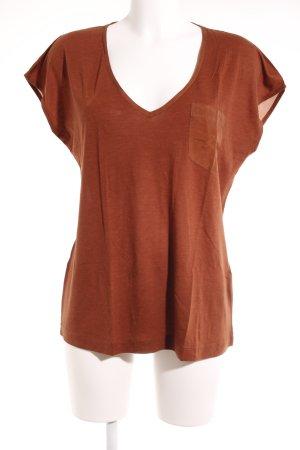 Drykorn V-hals shirt roodbruin elegant