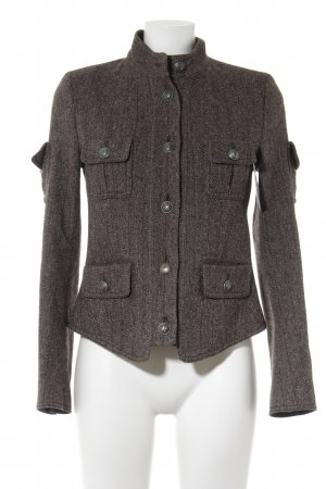 Drykorn Giacca di lana marrone scuro-crema puntinato stile casual