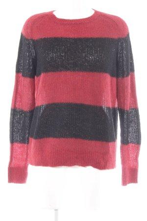 Drykorn Wollpullover schwarz-karminrot Streifenmuster Casual-Look