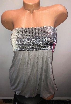DSQ Bluse Tunika Kleid One-Schulder in gr 38 Paietten Farbe Grau