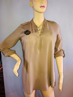 DSQ Long Bluse in gr 38 Farbe Beige Strass Ananas