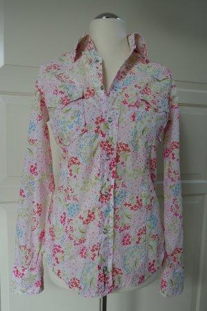 DSQUARED Bluse/Hemd aus Baumwolle mit Blumenmuster, mit Druckknöpfen ital. 46 od. EUR 42