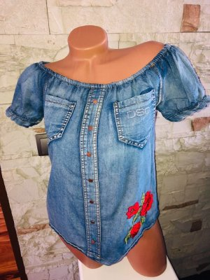 Dsquared Bluse Top Jeans gr 38 Rosen Strass