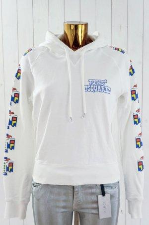 DSQUARED D2 Damen Kapuzenpullover Sweatshirt Hoodie Weiß Print Baumwolle Gr.M