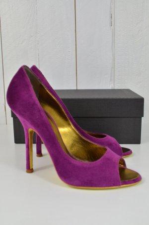 DSQUARED Damen High Heels Peep Toes TAK 110 SANDALO VELLUTOOPA Lila Samt Gr.38