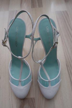 DSQUARED Schuhe, High Heel Pumps, aus perforiertem Leder in weiß, mit T-Riemen, Gr. 40,5