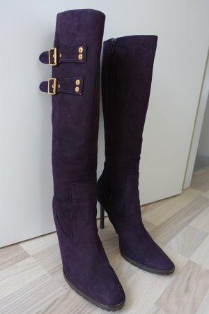 DSQUARED Stiefel aus super weichem, dunkelviolettem Rauhleder mit goldfarbenen Schnallen, Gr. 41