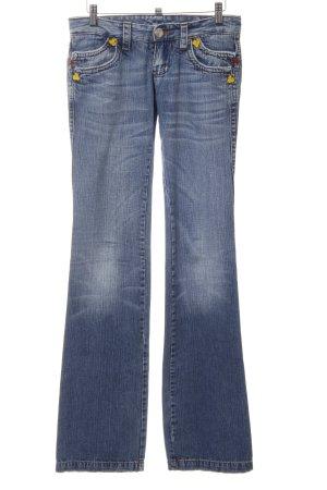 Dsquared2 Boot Cut Jeans kornblumenblau Schriftzug gestickt Bleached-Optik