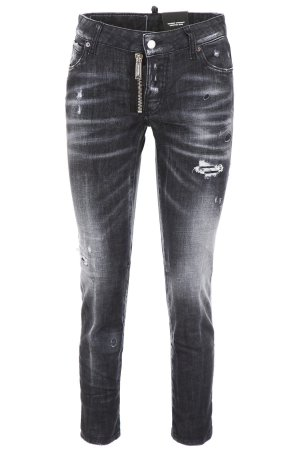 Dsquared2 Jeans Black Runway Straight Cropped