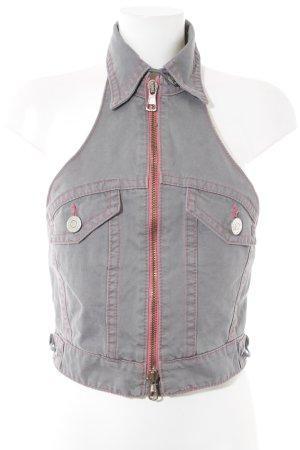 Dsquared2 Gilet en jean gris-rose fluo style extravagant