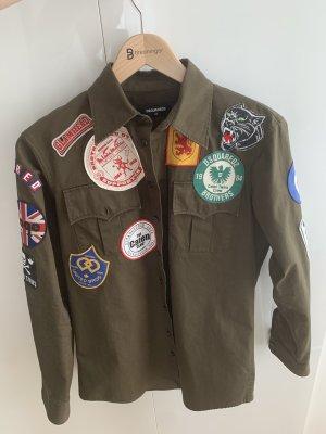 Dsquared2 Khakifarbenes Military-Hemd mit Aufnäher