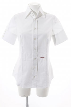 Dsquared2 Kurzarm-Bluse weiß-rot Schriftzug gestickt Business-Look