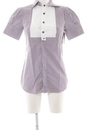 Dsquared2 Kurzarmhemd weiß-dunkelviolett Streifenmuster klassischer Stil