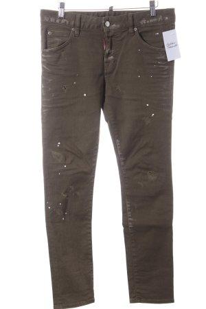 Dsquared2 Slim Jeans olivgrün Destroy-Optik
