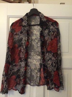 Dünne bluse mit rosen street one größe 42 m wie neu schwarz rot