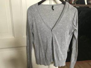 dünne graue Jacke von Fishbone mit Herzen Größe S 36 M 38 Cardigan