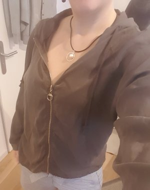 Dünne Kaputzen-Pulloverjacke in Khaki (40-42)