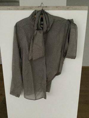 0039 Italy Blusa collo a cravatta marrone-grigio
