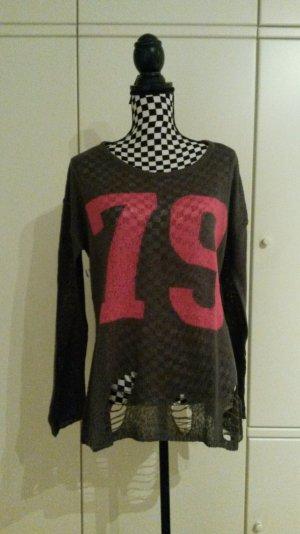 dünner Fransen Pullover mit Printdruck