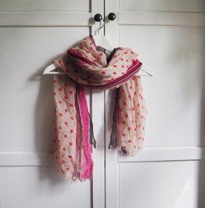 dünner, großer Schal mit Punkten und Streifen