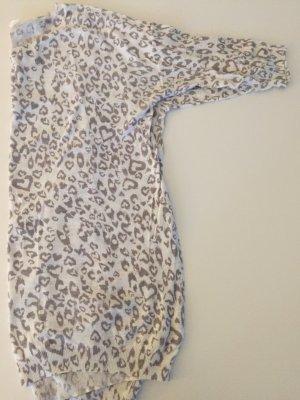 Dünner länger Pulli Leo Muster weiß grau H&M 40 Baumwolle