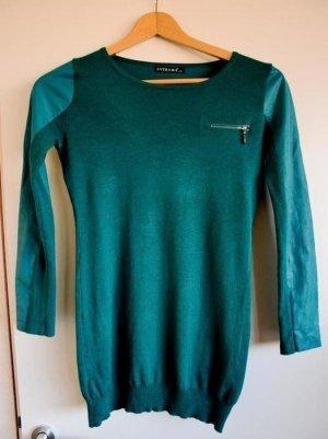 Dünner Long Pullover mit Ledereinsätzen