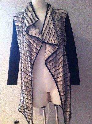 Dünner Mantel mit Leder Imitat Ärmel