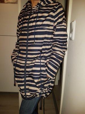 Veste longue blanc cassé-bleu acier