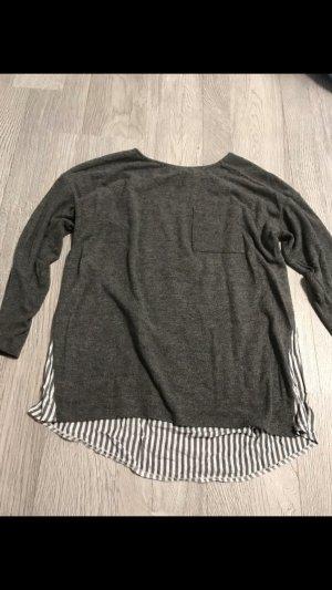 Primark Inserción de blusa gris oscuro-blanco