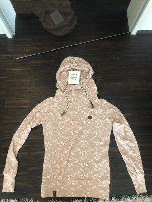Naketano Maglione con cappuccio rosa chiaro-bianco
